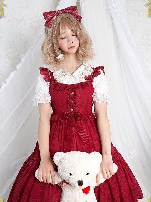 Wine Red Iridescent Sugar's Dream Women Ruffles Lace lapel Collar Sweet Lolita Dress