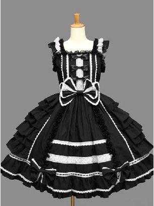 Black Palace Style Chiffon White lace Dress Bowknot Sweet Lolita Sling Dress