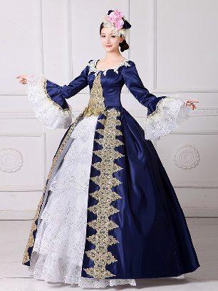 Blue New Style European style palace princess dress