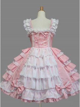Pink Palace Style Chiffon White lace Dress Bowknot Sweet Lolita Sling Dress