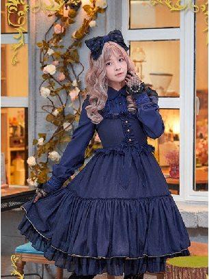 Navy blue Iridescent Sugar's Dream Women Ruffles Lace lapel Collar Sweet Lolita Dress