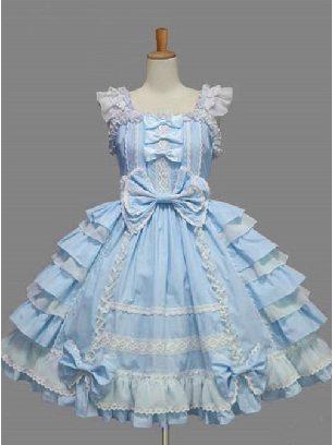 Blue Palace Style Chiffon White lace Dress Bowknot Sweet Lolita Sling Dress