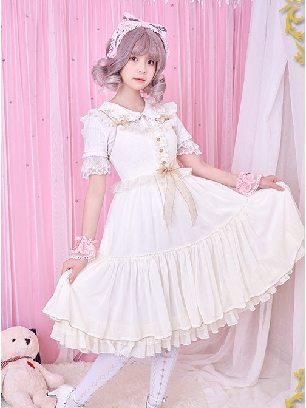 White Iridescent Sugar's Dream Women Ruffles Lace lapel Collar Sweet Lolita Dress