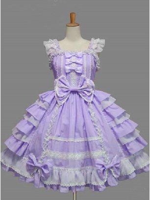 Purple Palace Style Chiffon White lace Dress Bowknot Sweet Lolita Sling Dress