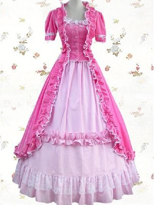 Victorian Pink gold velvet gothic lolita Short Sleeve Dress