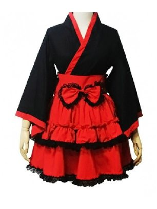 Red and Black Gothic Lolita Cotton Cosplay Maid Costume