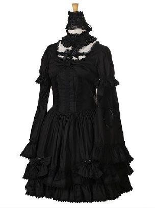 Dark gothic Cross collar Lace Trumpet sleeves Lolita Dress