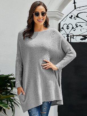Supply Pullover Knit Oversized Batwing Sleeve Mid-length Sweater Dress