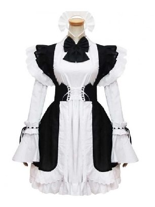 black white maid outfit Short Sleeves Cosplay Lolita Dress