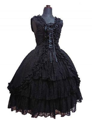 Sleeveless Lace Bowknot Tutu Dress Gothic Lolita Dress