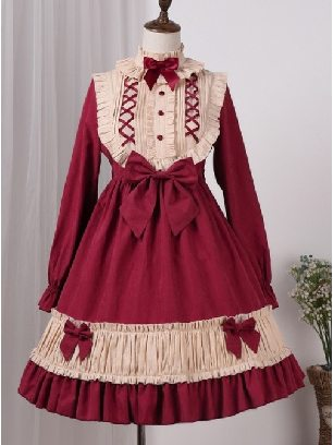 Long Sleeves Bowknot Sweet cradle doll Lolita Dress