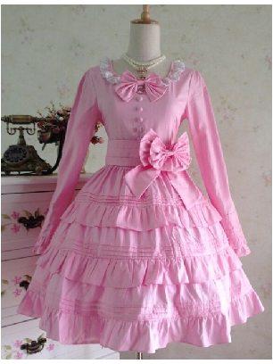 Lolita fluffy multi-layer ruffle Sweet Bow Long Sleeves Cotton Lolita Dress
