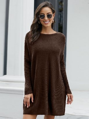 Brown Pullover Knit Oversized Batwing Sleeve Mid-length Sweater Dress