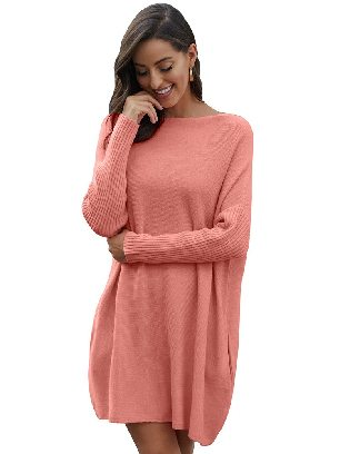 Pink Pullover Knit Oversized Batwing Sleeve Mid-length Sweater Dress