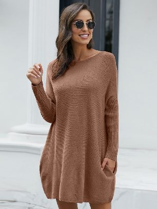 Khaki Pullover Knit Oversized Batwing Sleeve Mid-length Sweater Dress