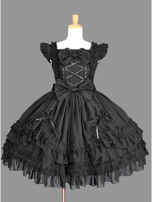 Gothic Lolita Cotton Black Bowknot Lace Puffy Flying Sleeves Dress
