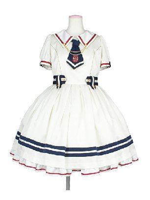 Supply Sailor Collar Navy Style Bowknot Short Sleeve Tutu School Lolita Dress