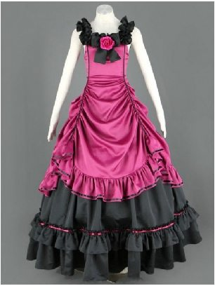 Floral Double-Layer court gothic retro lace Sleeveless Lolita Prom Dress