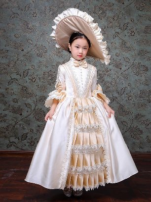 Children Girl princess dress palace party lace Trumpet Sleeves Prom Dress