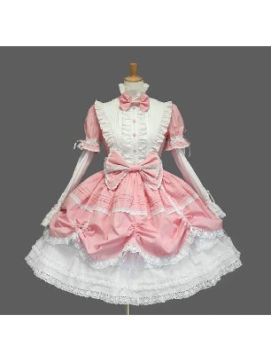 pleated sleeves stand collar one-piece princess Sweet Lolita Dresses