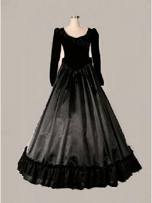 Black bow Victorian Gothic long sleeve Lolita Prom Dress