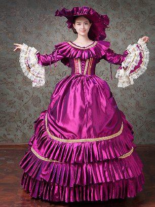 purple palace costume Layered ruffles Trumpet Sleeve Prom Dress