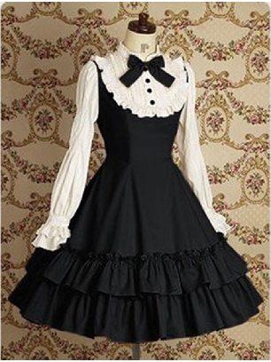 Supply Lolita Gothic long-sleeved cotton School Lolita Dresses