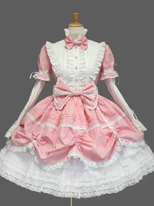 Pink pleated sleeves stand collar one-piece princess Sweet Lolita Dresses
