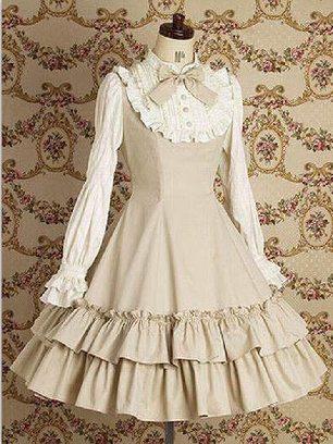 Khaki Lolita Gothic long-sleeved cotton School Lolita Dresses
