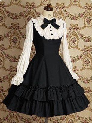 Black Lolita Gothic long-sleeved cotton School Lolita Dresses