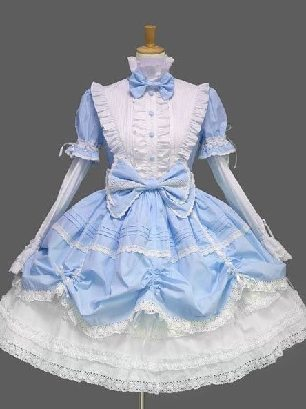 Sky Blue pleated sleeves stand collar one-piece princess Sweet Lolita Dresses