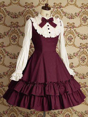 Burgundy Lolita Gothic long-sleeved cotton School Lolita Dresses