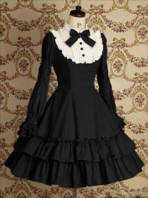 Black dress and black sleeves Lolita Gothic long-sleeved cotton School Lolita Dresses
