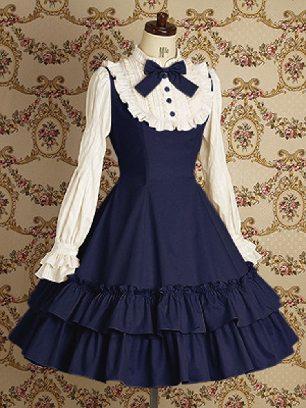 Dark blue Lolita Gothic long-sleeved cotton School Lolita Dresses