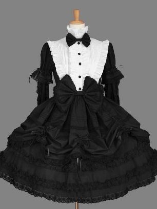 Black+white pleated sleeves stand collar one-piece princess Sweet Lolita Dresses
