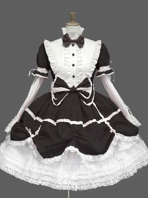 Black and white pleated sleeves stand collar one-piece princess Sweet Lolita Dresses