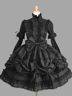 Black pleated sleeves stand collar one-piece princess Sweet Lolita Dresses