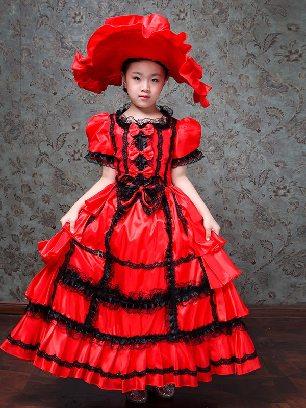 Children Red court clothes cake dress Waist Bowknot Pleated hem Sweet Lolita Dress