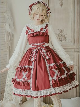 Crisp Crispy Cream Series Cute Doll JSK-Little Bear Dress High Waist Sweet Lolita Dress