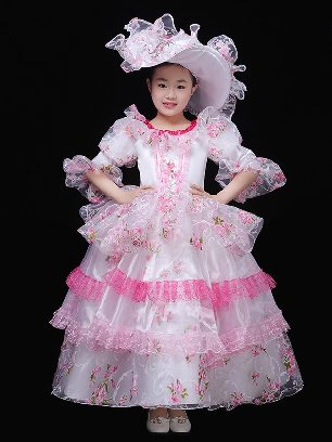 Children Retro Palace Clothes embroidered Pleated Lace hem Lolita Prom Dress