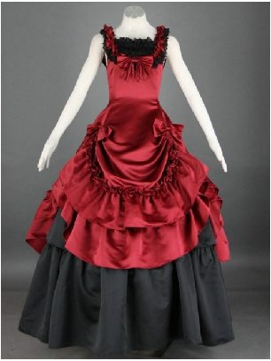 Red Black gothic Victorian pleated Double-Layer Sleeveless Lolita Prom Dress