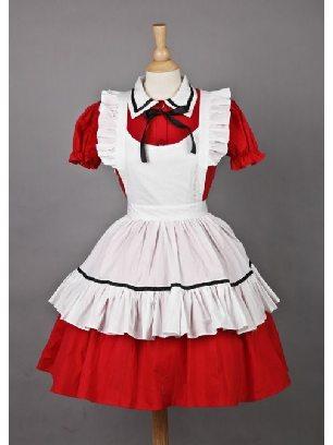 Red Maid Costume Short Sleeves Sweet Lolita Dress