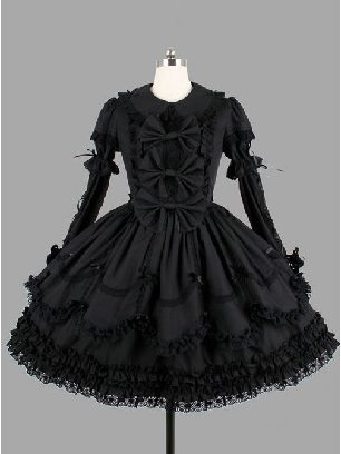 Gothic dark goddess bowknot lace dress Lolita dress