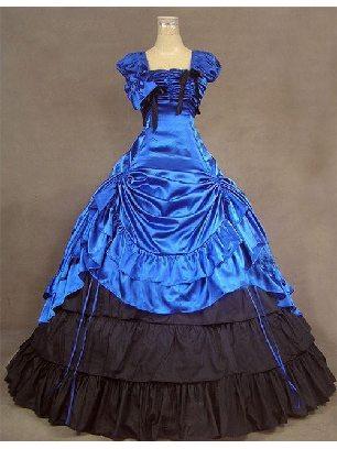 Lolita Gothic royal blue pleated waist one-piece palace Lolita Dresses