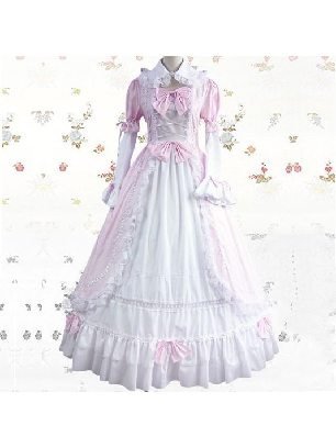 Lolita pink white Stitched sleeves cotton one-piece Classic Lolita Dresses