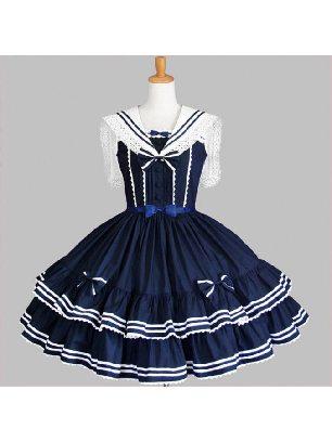 Supply retro navy collar sailor suit bow lace tutu skirt School Lolita Dress
