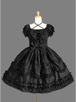 Retro Gothic Bowknot Lace Sleeve Short Sleeves Dress