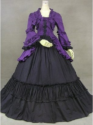 Palace retro lolita British style bell sleeve Purple Black Lolita Prom Dress