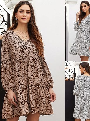 Supply Stitching Leopard Print Ruffle V-Neck Flowy Loose Tunic Dress