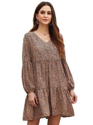 Brown Stitching Leopard Print Ruffle V-Neck Flowy Loose Tunic Dress
